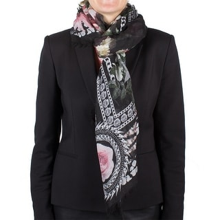 Givenchy Women's Chain Border Floral Pattern Cashmere Scarf Large