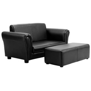 Kids Double Sofa with Ottoman-Black