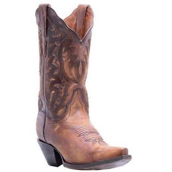 Dan Post Western Boots Womens Snip Cowboy Distressed Tan