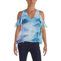 Aqua Womens Blouse Chiffon Printed