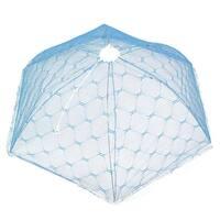 Kitchen Metal Frame Nylon Mesh Umbrella Shape Foldable Table Food Net Cover Blue