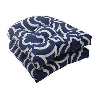 Set of 2 Geometric Navy Blue Sky Outdoor Patio Tufted Wicker Seat Cushions 19""
