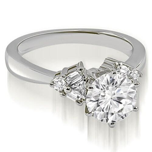 1.00 cttw. 14K White Gold Round Baguette Trillion cut Diamond Engagement Ring