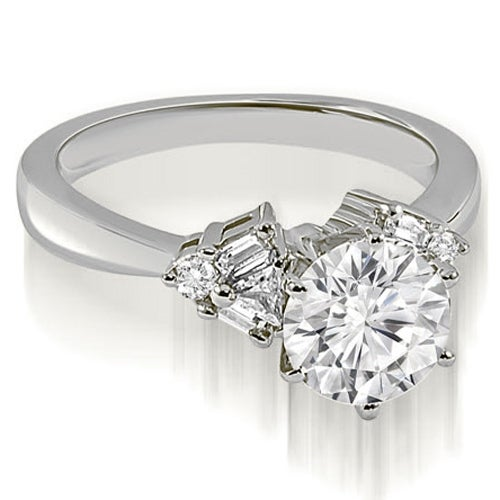 1.50 cttw. 14K White Gold Round Baguette Trillion cut Diamond Engagement Ring