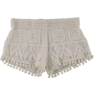 Surf Gypsy Womens Crochet Pom Trim Casual Shorts