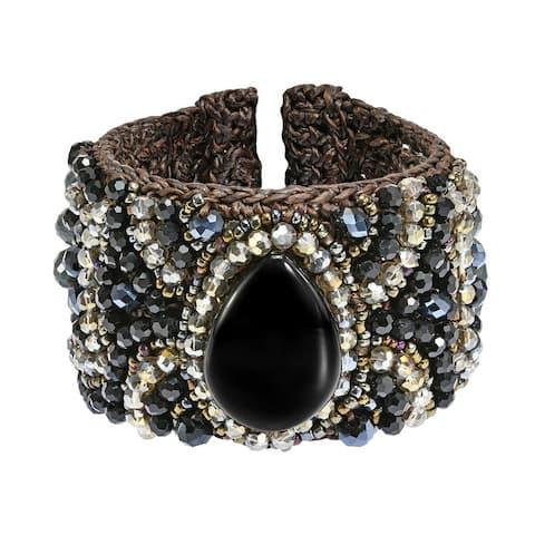 Handmade Boho Chic Floral and Stone Teardrop Accents Mosaic Crystals Cuff Bracelett (Thailand)