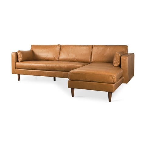 Elton 111.4L x 68.1W x 34.3H Tan Leather Chaise Sectional - 111.4L x 68.1W x 34.3H