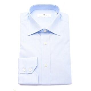 Pierre Balmain Men Slim Fit Cotton Dress Shirt Solid Light Blue