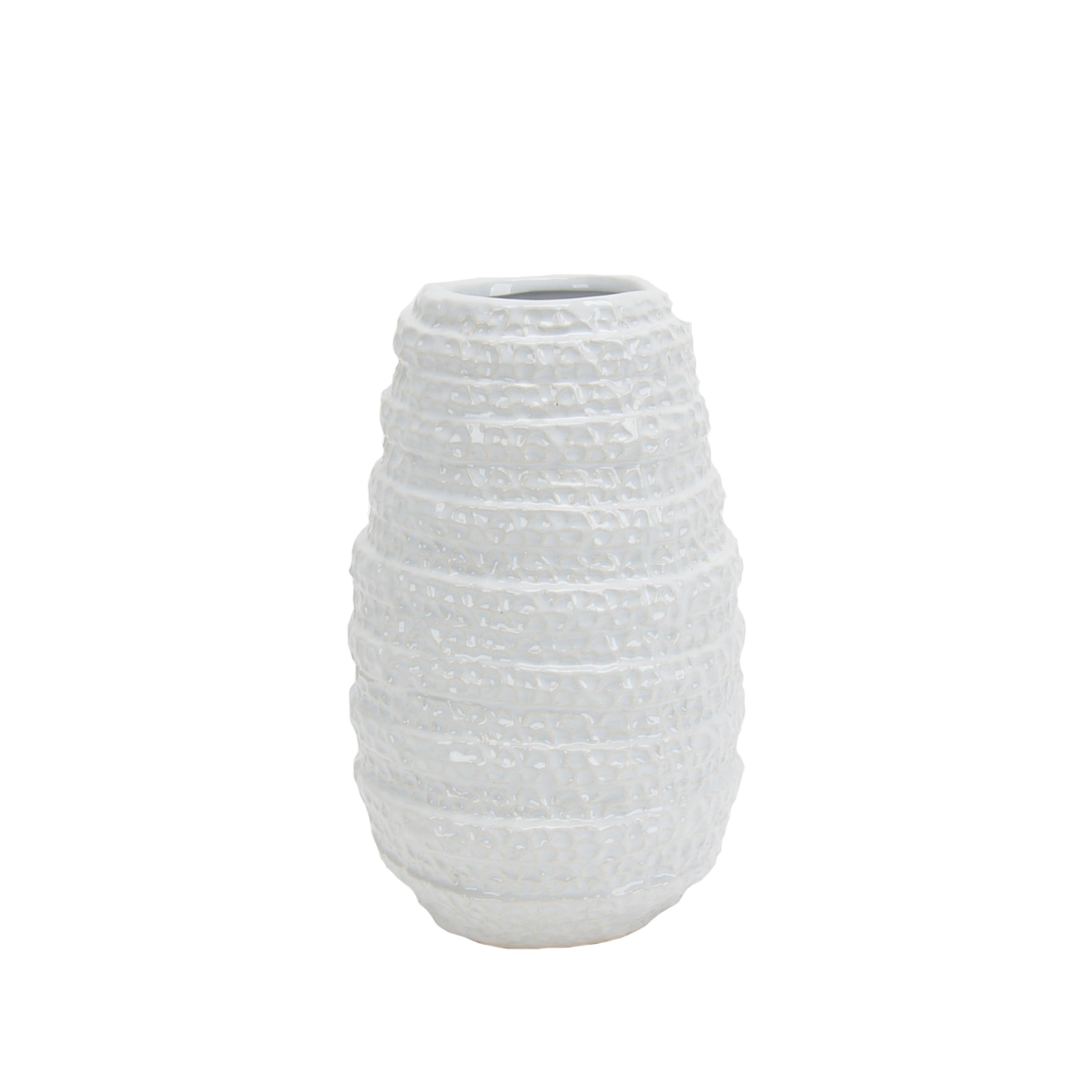 Ceramic Vase with Textured Design, Small, White