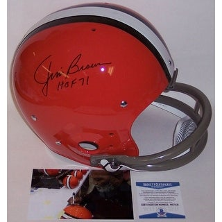 Jim Brown Autographed Hand Cleveland Browns 2Bar TK Throwback Full Size Helmet BAS Beckett