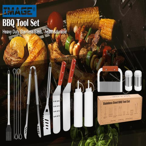 IMAGE BBQ Grill Tool Set, 14 PIECES Large Heavy Duty Stainless Steel Grilling Accessories, Durable In Use Grilling Kit
