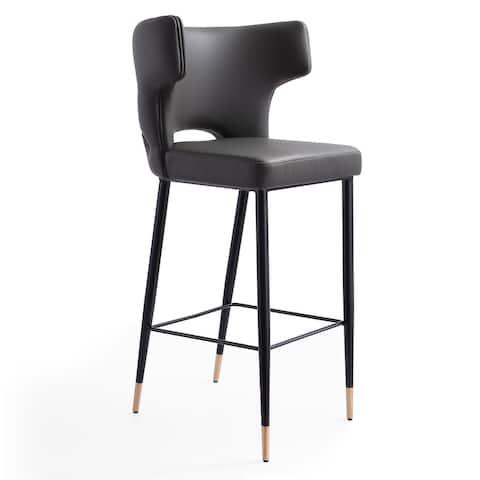 Ceets Holguin Mid-century Modern Leather Barstool