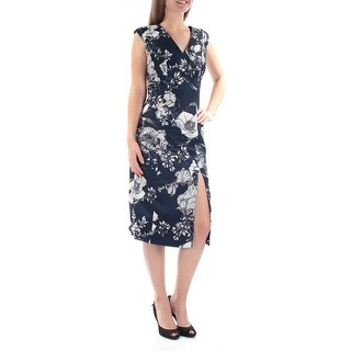 FAME AND PARTNERS Womens Navy Slitted Floral Cap Sleeve V Neck Below The Knee Sheath Dress  Size: 6