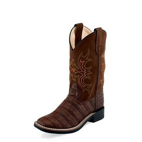 Old West Cowboy Boots Boys Broad Square Toe TPR Outsole Brown