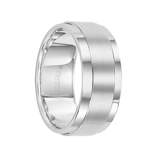 EDWARD Raised Brush Finished Center White Tungsten Carbide Bright Polished Step Edges by Triton Rings - 9 mm