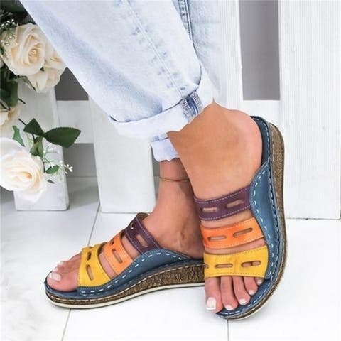Women Fashion Leather Vintage Slippers Heels Open Toe Sandals