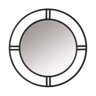 Offex Camber Powder Coated Steel Framed Decorative Round Mirror - Black
