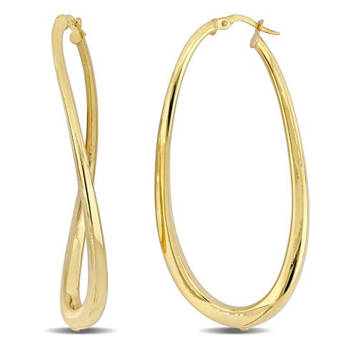 Miadora 14k Yellow Gold Oval Twisted Hoop Earrings