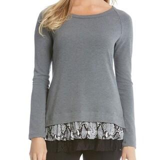 Karen Kane NEW Gray Womens Size XL Long-Sleeve Lace-Hem Tunic Sweater