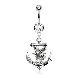 Gemmed Anchor with Eagle Dangle Navel Belly Button Ring 316L Surgical Steel