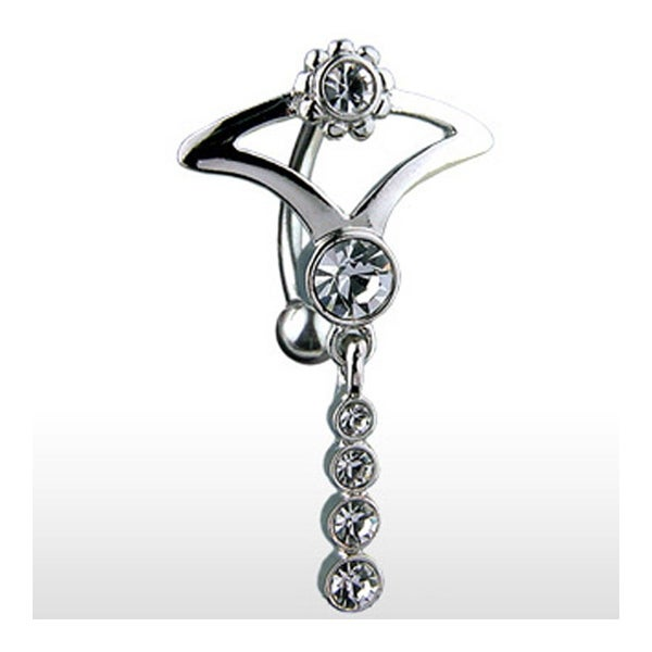 "Hinge Navel Belly Button Ring with CZ and Dangle Tribal Design - 14GA 3/8"" Long"