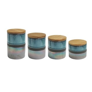 American Atelier 4 Piece Abingdon Canister Set, Green and Silver