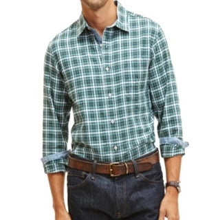 Nautica NEW Teal Green Mens Size Small S Oxford Plaid Button Down Shirt