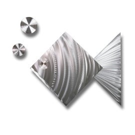 Statements2000 Silver Tropical Fish Metal Wall Art Accent by Jon Allen - Island Time Silver Fish