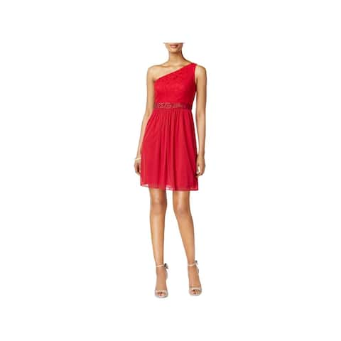 Adrianna Papell Womens Cocktail Dress One Shoulder Mini