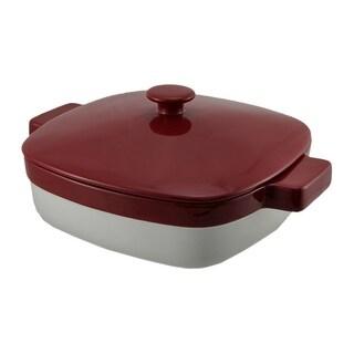 KitchenAid Red and White 1.9 Quart Covered Ceramic Baking Dish