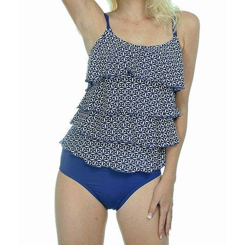 26c74e4f41 Dippin' Daisy's Blue Women's Size 12 Tankini Floral Ruffled Swimwear