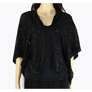 Alfani NEW Black Women's Size XL Cardigan Sequin Flyaway Solid Sweater