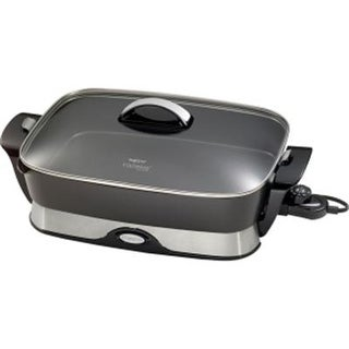 """Presto 06857 16"""" Electric Foldaway Skillet With Tempered Glass Cover - Black"""