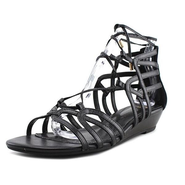 Isola Elisia Women Open Toe Leather Black Gladiator Sandal
