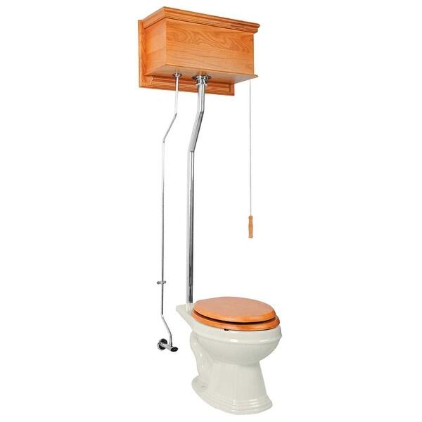 High Tank Toilet Light Oak Elongated Biscuit Chrome