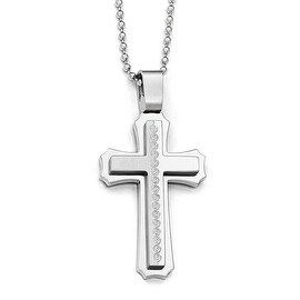 Chisel Stainless Steel Polished Laser Cut Cross Necklace - 24 in