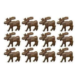 Rustic Brown 12 Piece Cast Iron Moose Drawer Pull Set