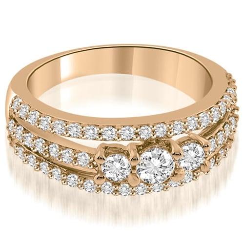 0.84 cttw. 14K Rose Gold Three-Stone Split Shank Diamond Wedding Ring