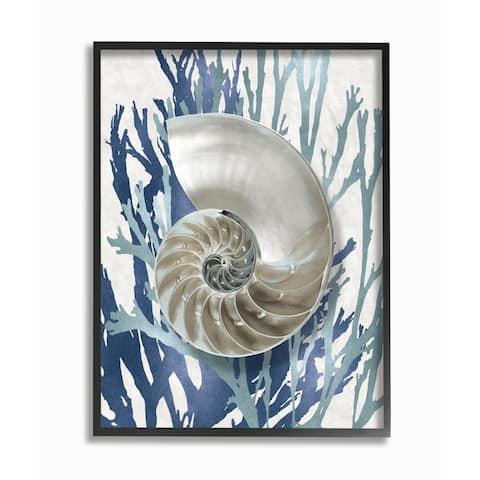 Stupell Industries Shell Coral Beach Blue Design Framed Wall Art