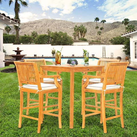 """Chic Teak 5 Piece Teak Wood Castle Patio Bistro Bar Set including 35"""" Bar Table & 4 Barstools with Arms"""