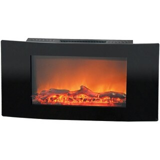 Cambridge Callisto CAM35WMEF-2BLK 35 In. Wall-Mount Electronic Fireplace with Curved Panel and Reali - Black