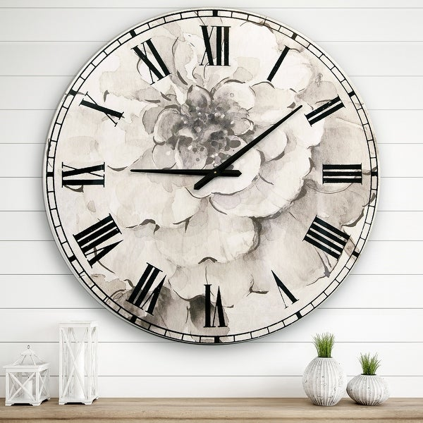Designart 'Indigold Grey Peonies I' Farmhouse Large Wall Clock. Opens flyout.