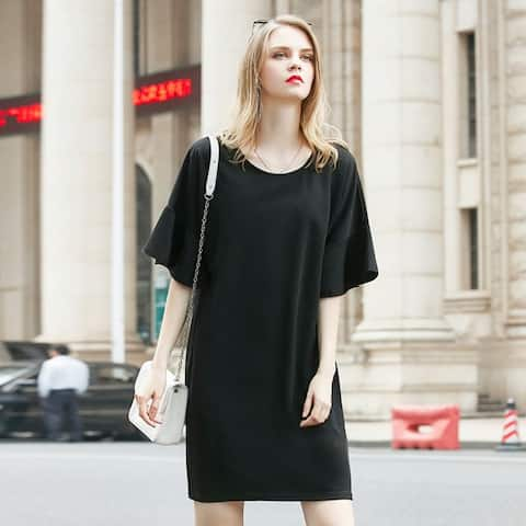 Fat Mm Large Size Fashion Lotus Sleeve Solid Color Dress