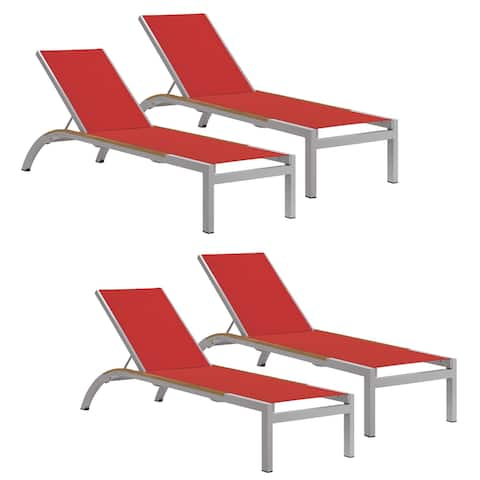 Oxford Garden Argento Armless Chaise Lounge with Tekwood Natural Side Rails - Red Sling(Set of 4)
