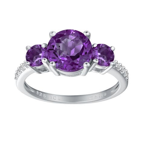 3-Stone Round-Cut Gemstone Engagement Ring, Sterling Silver