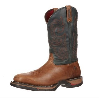 "Rocky Western Boots Men 12"" Long Range Waterproof Brown Navy FQ0008656"
