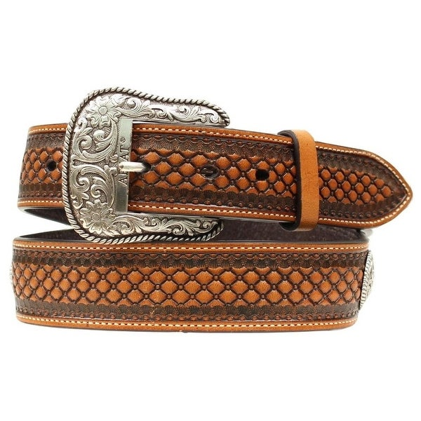 Ariat Western Belt Mens Bead Scallop Floral Conchos Brown