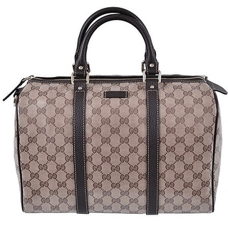 Gucci Brown Crystal GG Canvas & Leather Boston Bag