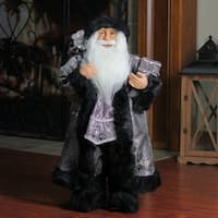 "24"" Standing Santa Claus in Silver and Black with Gifts Christmas Figure"