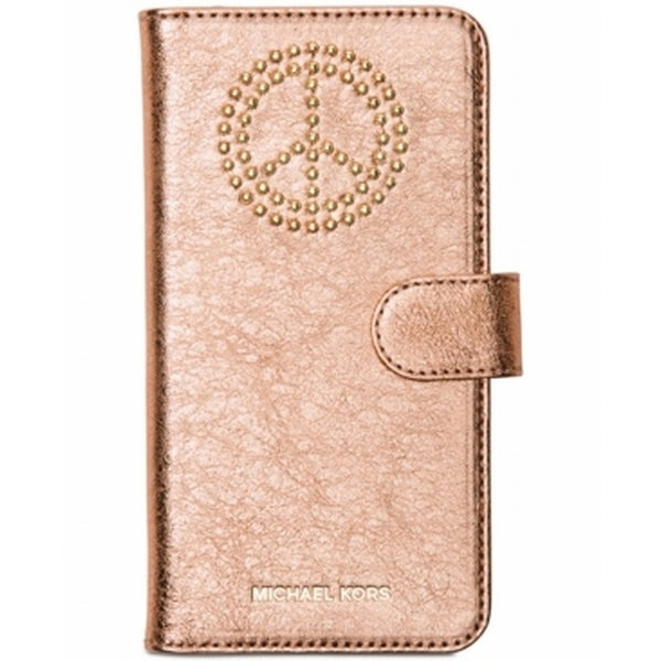 Michael Kors NEW Pink Leather Micro Peace Stud Iphone 7 Folio Wallet